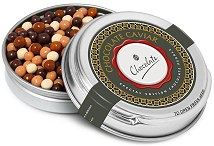 Chocolate Pearls in a Silver Caviar Tin