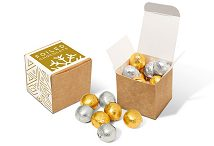 Eco Kraft Cube of Foiled Chocolate Balls