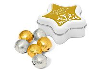 Foil Wrapped Chocolate Balls in a Star Shaped Printed Tin