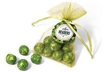 Chocolate Sprouts in an Organza Bag