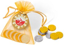 Organza Bag of Gold or Silver Coins with a Christmas Label