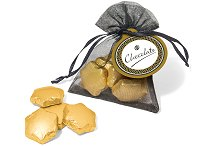 Gold Foil Chocolate Stars in an Organza Bag